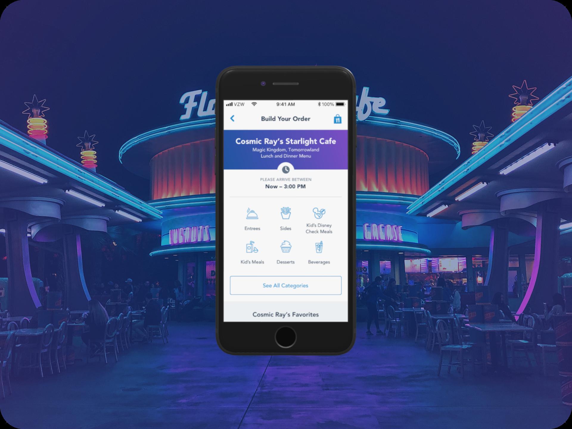 Disney Parks Mobile Order Menu Redesign